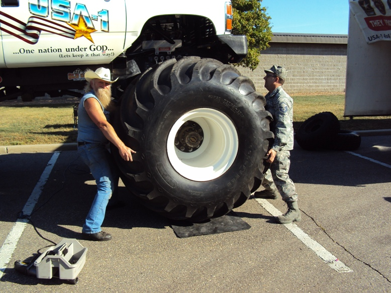 It isn't every day that I get to train one of our military; thanks to Tom Heckman for helping change tires, as well as many others that helped set up and tear down. I seem to remember a group taking turns on each tire, I think they were drawing straws.